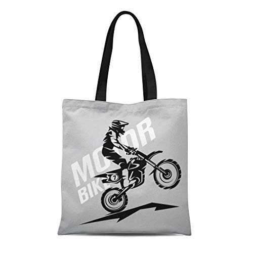 - Semtomn Canvas Tote Bag Shoulder Bags Moto Biker Motocross Symbol for Dirt Motorbike Active Bike Women's Handle Shoulder Tote Shopper Handbag