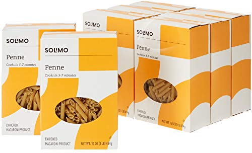 Amazon Brand - Solimo Pasta, Penne, 16oz (Pack of 8) ()