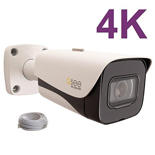 Q-See 4K 8MP HD QC IP Series Bullet Security Camera with Color Night Vision and H.265+ (QCN8093B) For Sale