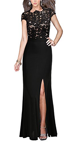 [REPHYLLIS Women's Retro Floral Lace Vintage Wedding Maxi Fromal Long Dress(XXL,Black)] (Plus Size Evening Wear)