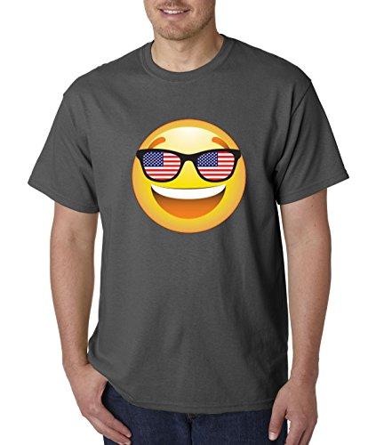 T-Shirt Emoji Smiley Face USA American Flag Sunglasses 4th July 4XL Charcoal ()
