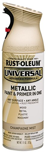 Rust-Oleum 261415 Universal All Surface Spray Paint, 11 oz, Metallic Champagne Mist, Champagne/Gold