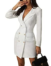 Womens Double Breasted Military Style Blazer Dress Office Ladies Slim Fit Coat Jacket