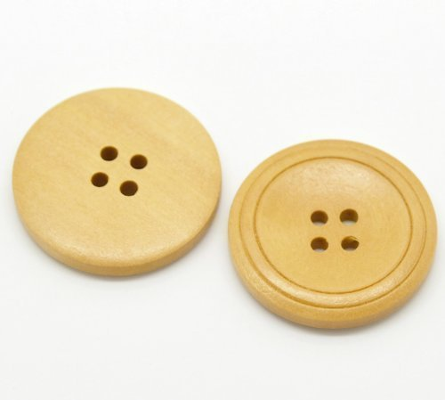 10 large round Natural Wooden Buttons 30mm - 4 holes -DIY sewing, scrapbooking, crafts