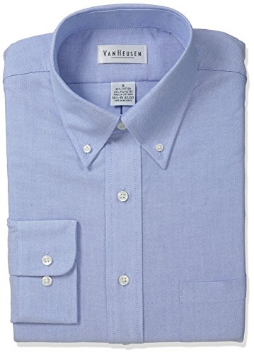 Van Heusen Men's Long Sleeve Oxford Dress Shirt, Blue, X-Large (Van 40)