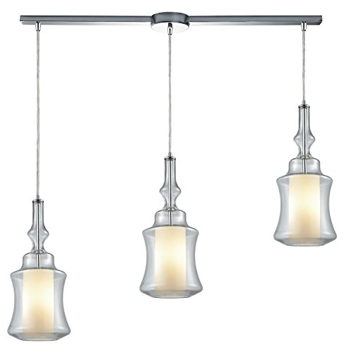 - Alora 3 Light Linear Bar Pendant in Polished Chrome with Opal White Glass Inside Clear Glass