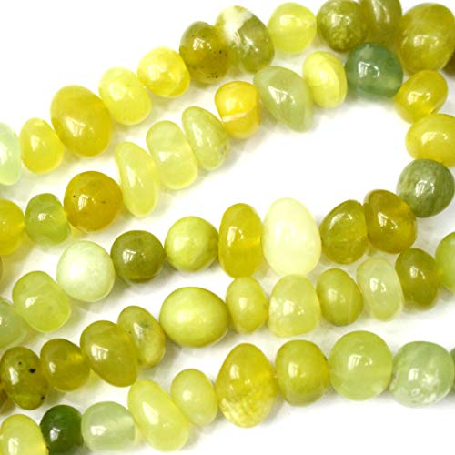 Icokar Lemon Jade Rondelle Nuggets 7x12mm Natural Gemstone Loose Beads Approxi 15.5 inch DIY Bracelet Necklace for Jewelry Making