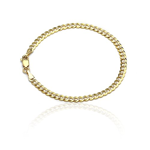 10 Inch 10k Two-Tone Gold Curb Cuban Chain Ankle Bracelet Anklet with White Pave, 0.16 Inch (4mm) by SL Gold Imports