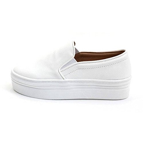 (EpicStep Women's White Casual Simple Slip-On Mid Heels Thick Soles Platform Shoes Low Fashion Sneakers 6.5 M US)