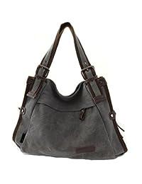 TianHengYi Vintage Women's Canvas Leather Hobo Tote Shoulder Bag Top-handle Handbag Cross Body Purse