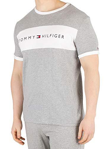 Tommy Hilfiger Men's Logo Block Crew-Neck Cotton T-Shirt, Grey Heather Large Grey Heather