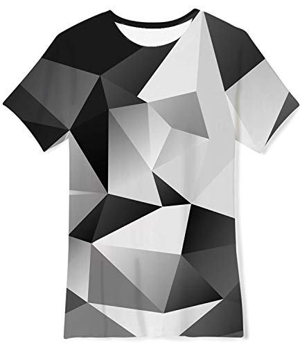 - Enlifety Girls Boy Geometric Graphic Tees Shirts for Summer Camp Party Holiday Junior School Life Size 10-12