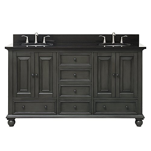 Avanity Thompson 61 in. Double Sink Vanity Combo in Charcoal Glaze finish with Black Granite Top