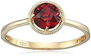 10k Gold Round-Cut Birthstone Ring
