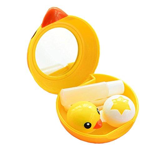 Set of 2 Eye Care Contact Lens Case Holders Solution Travel Kit Lovely Duck
