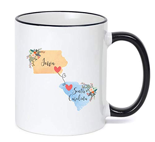 South Carolina Iowa Mug State to State Coffee Cup Gift Two State Mug Best Friend Mom Girlfriend Aunt Grandma Birthday Mother's Day Going Away Present Moving New Job - Coffee Iowa State