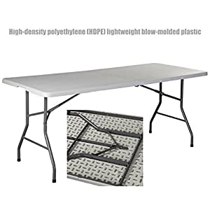 Heavy Duty Construction Light-weight Portable 6' HDPE Folding Table Indoor-Outdoor Laptop Desk Picnic Camp Party Dining Table # 1179