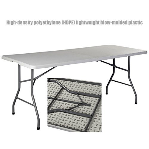 Heavy Duty Construction Light-weight Portable 6' HDPE Folding Table Indoor-Outdoor Laptop Desk Picnic Camp Party Dining Table # 1179 (Outdoor Furniture Clipart)