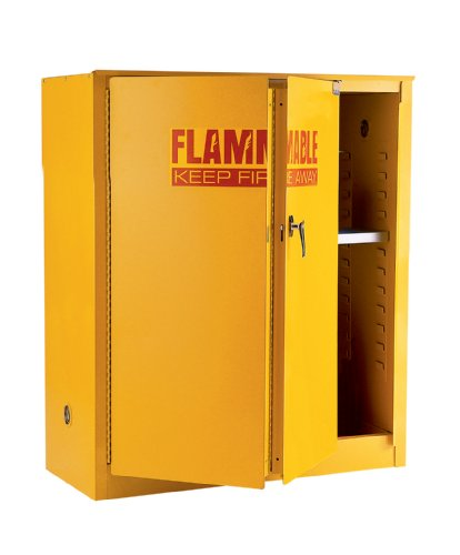 [Edsal SCM745F 18 Gauge Welded Steel Flammable Liquid Safety Cabinet with Self Closing Sliding Door and 2 Levels, 45 Gallon Capacity, 65