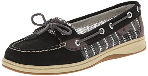Sperry Top-Sider Women's Angelfish Breton Stripe Mesh Boat Shoe, Black/Graphite, 5.5 M US