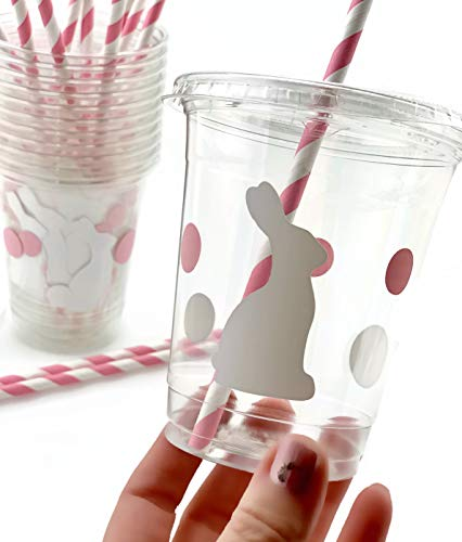 Bunny Party Cups - 12 Set Plastic Lids Straws Somebunny is One First Birthday