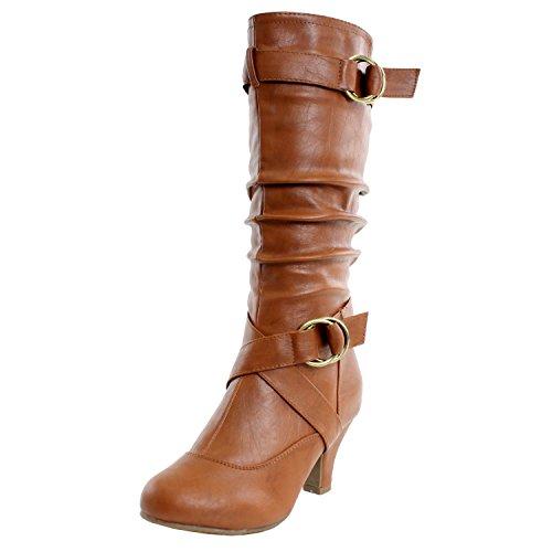 Boots Low Price (TOP Moda Women's Auto-2 Round Toe Dress Boot, Tan PU,)