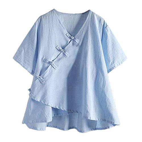 Ethnique Irrgulier Manche Tee Femme Chemisiers Style Shirt Large Vetement 4 Mode Basic Elgante Cou Uni Tunique Dcontract Top Vintage V Asymtrique Courtes Manches Blouse Lin HEqxv