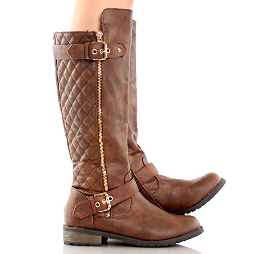 Amazon.com | Forever Mango-21 Women's Winkle Back Shaft Side Zip ... : brown quilted riding boots - Adamdwight.com