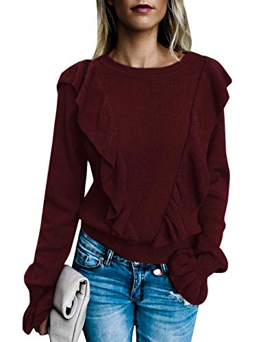 (Imily Bela Women's Crew Rib Ruffle Front Puff Long Sleeve Blouse Sweater Crop T Shirts)