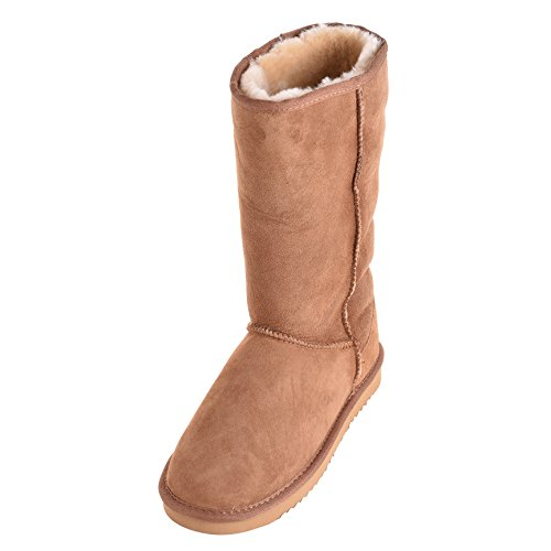 Lambland Ladies Tall Genuine Sheepskin Boots with Reinforced Heel and EVA Sole Chestnut