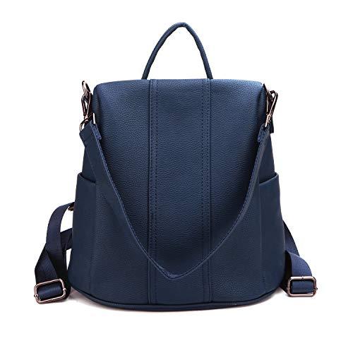 Women Backpack Purse Anti-Theft Faux Leather Ladies Handbag Shoulder Bag Girls Casual Travel Rucksack (Navy Blue)