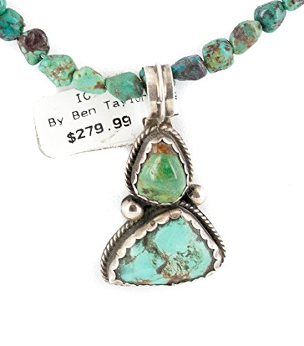 .925 Sterling Silver Certified Authentic Navajo Natural White Buffalo and Turquoise Native American Necklace