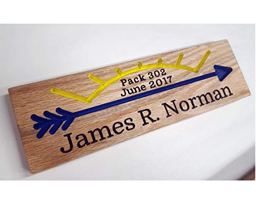 (Arrow of Light Award Oak Wood Routed Sign Plaque Handmade Oak Cubscout Webelos Boyscout Blue Gold Pack Custom Hand Carved AOL)