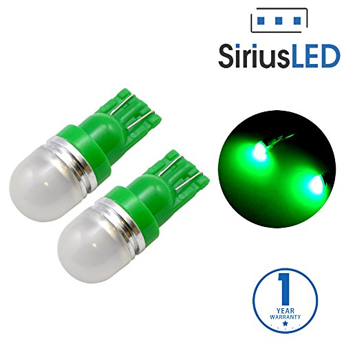 SiriusLED Super Bright 1 W LED Bulbs with 360 Degree Projection for Car Interior Lights Gauge Instrument Panel Dome Map Side Marker Door Courtesy License Plate T10 168 192 194 2825 W5W Green (Honda Green Car)