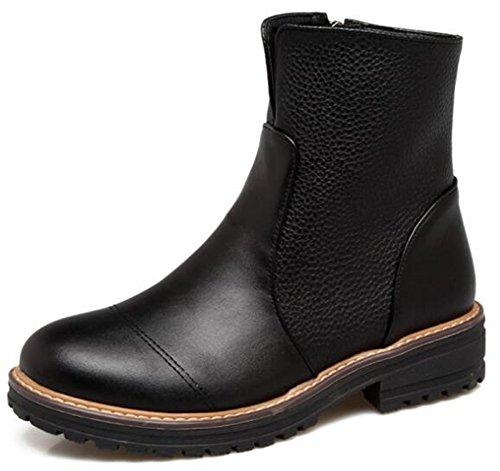 Idifu Kvinners Trendy Rund Tå Side Zippe Motor Ankelstøvletter Med Midten Chunky Hæler Sort