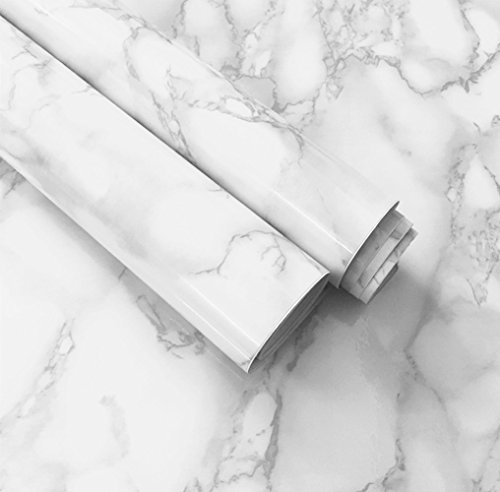 White Grey Marble Paper Adhesive Gloss Vinyl Wrap Film Kitchen Countertop Peel Stick Wallpaper Decal 12''x79'' (White)