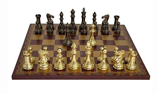 Juego de ajedrez Ital Fama con tablero de cuero prensado, borgoña y oro