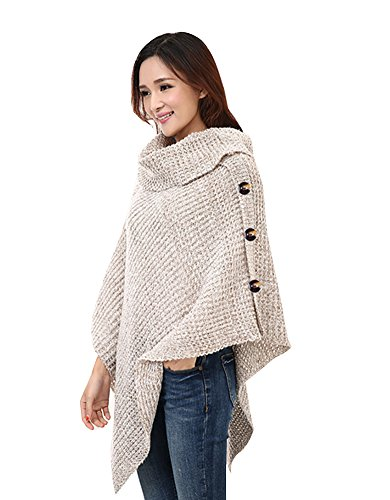 Columbustore Large Till Crochet Poncho Sweater Shawl Wrap Blanket ,Apricot,One Size