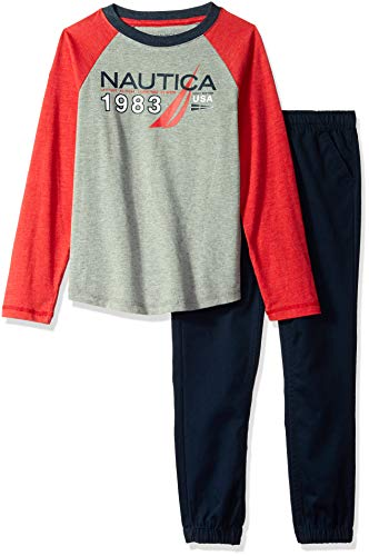 Nautica Sets (KHQ) (RJ7QG) Kids & Baby 2 Pieces Tee Pants, Red/Gray, 4
