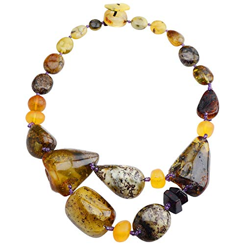 Jewelry to Your Doorstep Amazing Unique Baltic Amber and Amethyst Accent Beads Statement Necklace 18