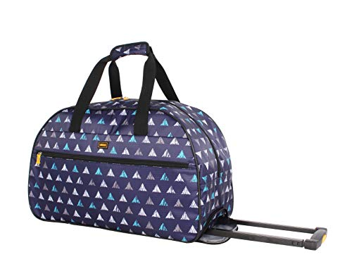 Lucas Luggage 22 Inch Printed Rolling Carry-On Suitcase Wheeled Duffel (22in, Triangle)