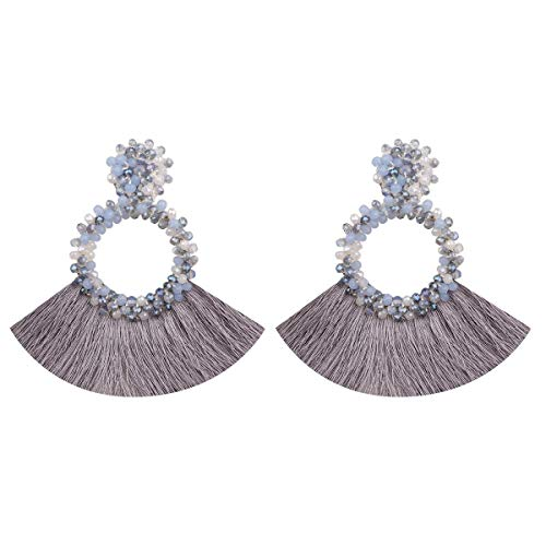 HAO HONG Tassel Beads Statement Hoop Handmade Drop Dangle Earrings for Women White for Daily Wedding Party Gift (bluewihte)