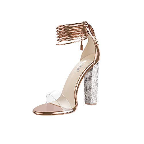 LALA IKAI Women's Gold High Heels Sandals with Rhinestone Ankle Strappy Clear Chunky Heels Dress Party Pumps Shoes Rose Gold 9