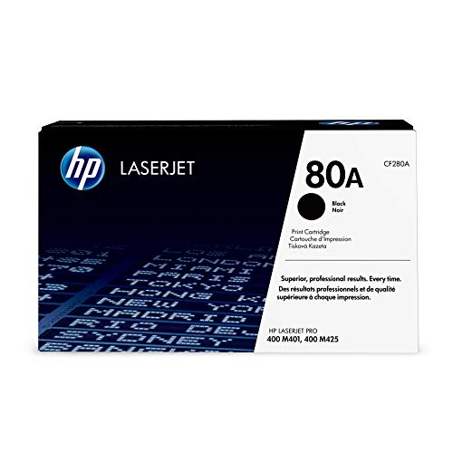 HP 80A (CF280A) Black Toner Cartridge for HP LaserJet Pro M401 - 400 Printer Laser Hp