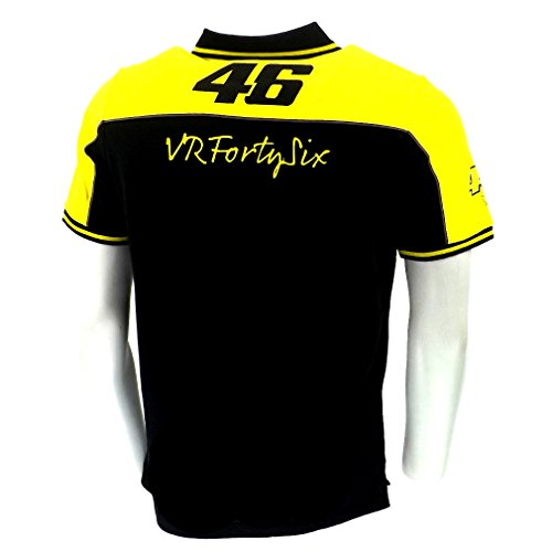 Valentino Rossi VR46 Yellow Panel Moto GP Polo Shirt Black Official 2015