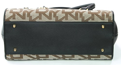 Donna Embossed Karan Brown Bag DKNY Logo Shoulder Canvas Hand RRP 260 Black daqX6qw