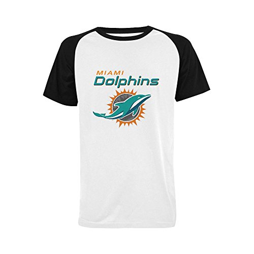 Raglan Dolphins (Burrows Custom Dolphins Miami Plus-size Men's Raglan T-shirt Black)