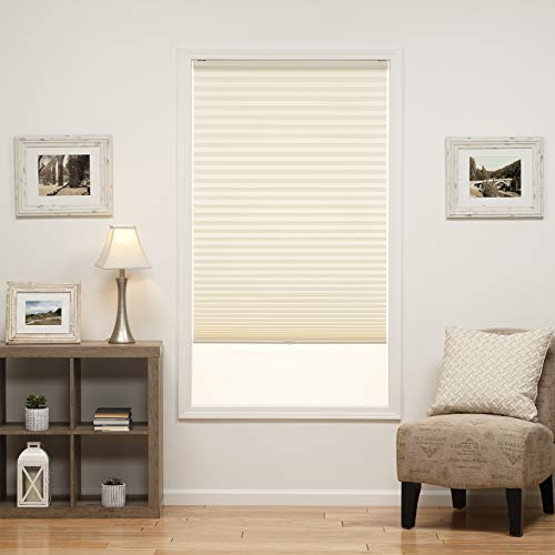 - DEZ Furnishings QDER230640 Cordless Light Filtering Pleated Shade, 23W x 64L Inches, Ecru