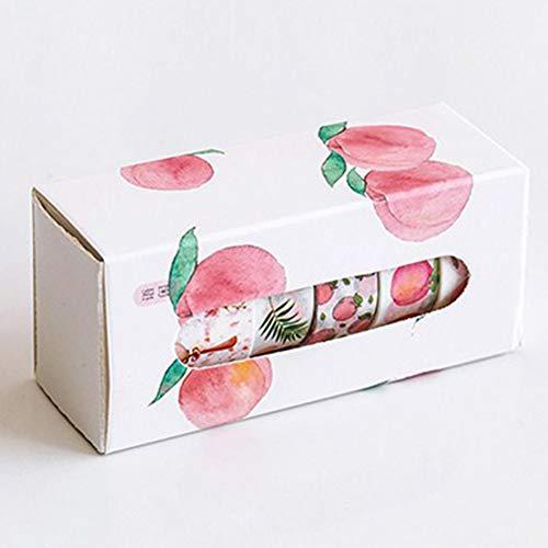 Ocamo 5 Pcs DIY Flower Washi Tape Decoration Scrapbooking Planner Masking Tape Label Sticker Stationery Peach (Peach Label)