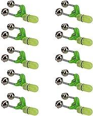 10 Pcs LED Light Fishing Bite Sound Alarm Alert Fishing Rod Alarm Dual Alert Bells Night Fishing Tackle Sticks